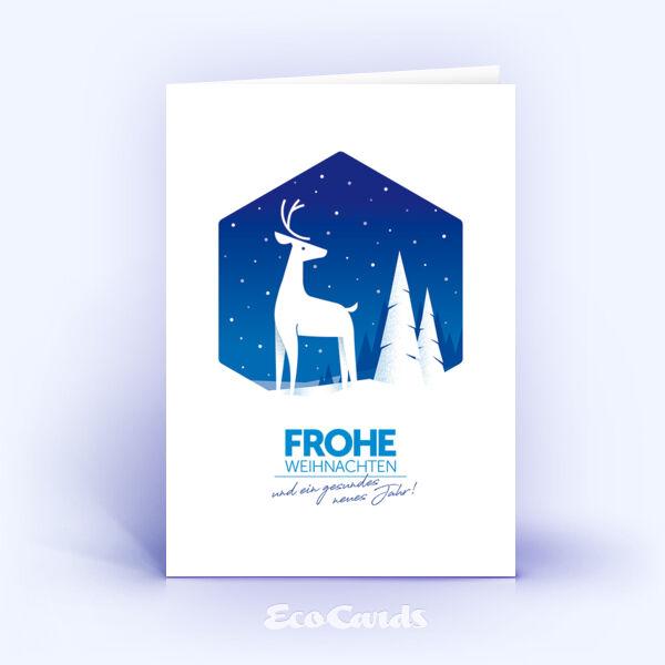 Weihnachtskarte Nr. 2033 dunkelblau mit Hirschmotiv
