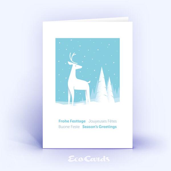 Weihnachtskarte Nr. 2039 hellblau mit Hirsch Illustration