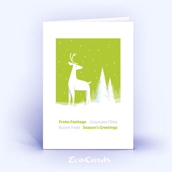 Weihnachtskarte Nr. 2041 gruen mit Hirsch Silhouette