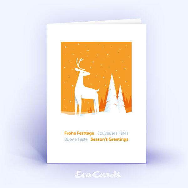 Weihnachtskarte Nr. 2043 orange mit Hirschmotiv