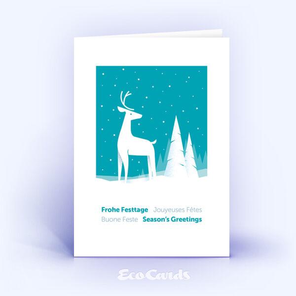 Weihnachtskarte Nr. 2045 tuerkis mit Hirschmotiv