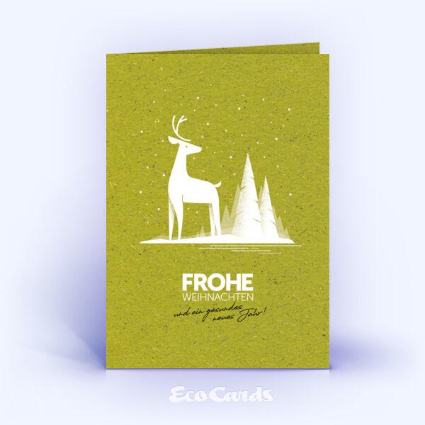 Weihnachtskarte Nr. 2047 gruen mit Hirsch