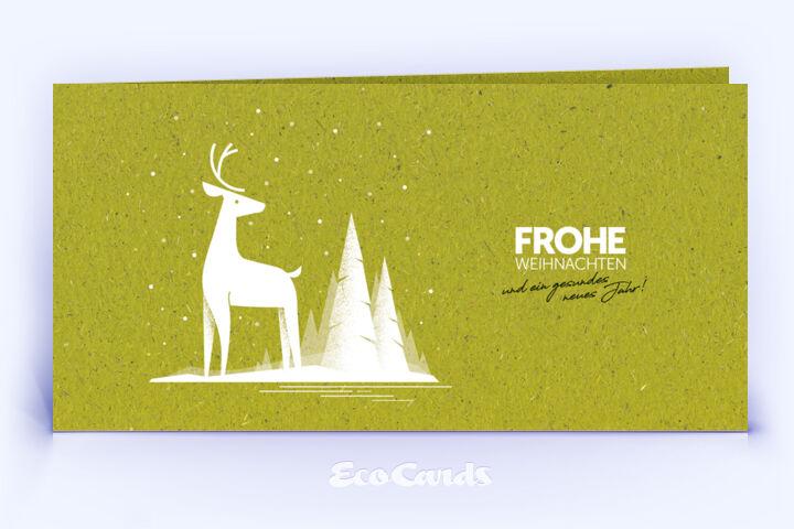 Weihnachtskarte Nr. 2048 gruen mit Hirsch Illustration