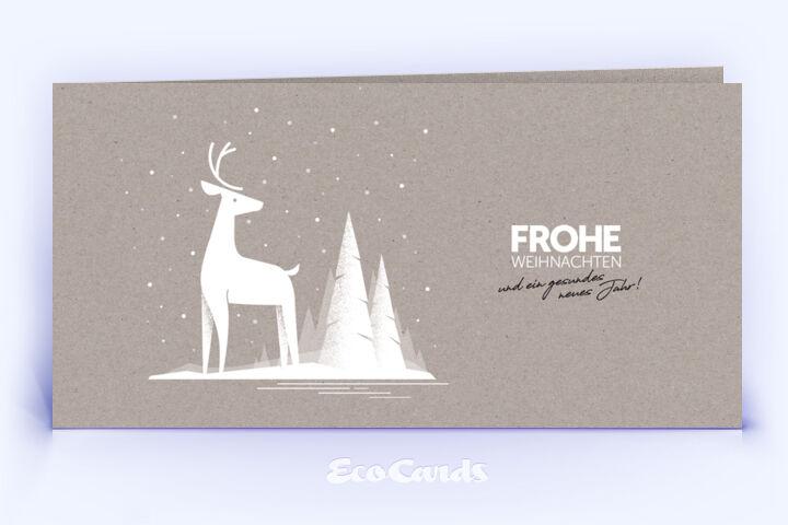 Weihnachtskarte Nr. 2050 grau mit Hirschmotiv