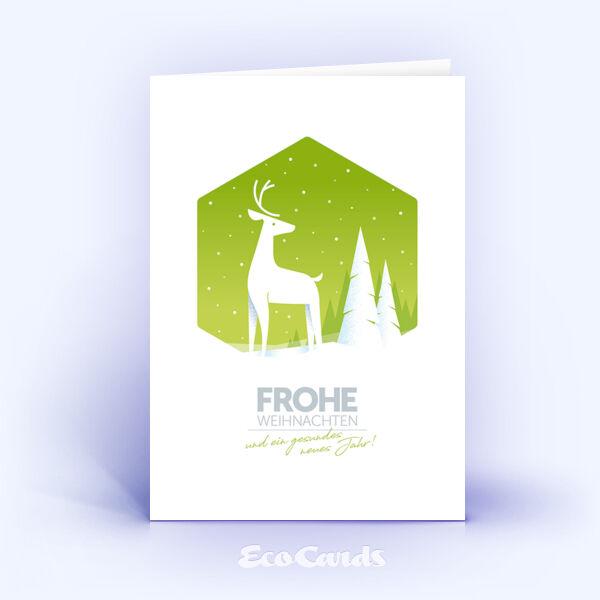 Weihnachtskarte Nr. 2051 gruen mit Hirsch