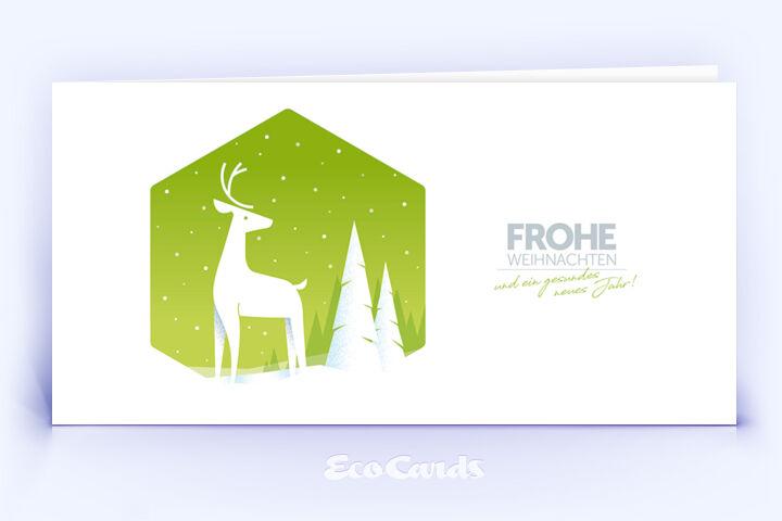 Weihnachtskarte Nr. 2052 gruen mit Hirsch Illustration