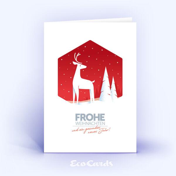 Weihnachtskarte Nr. 2055 rot mit Hirschmotiv