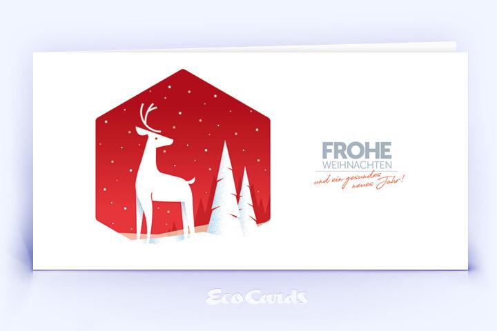 Weihnachtskarte Nr. 2056 rot mit Hirsch Silhouette