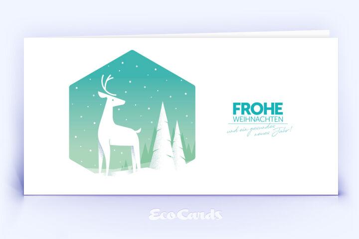 Weihnachtskarte Nr. 2058 tuerkis mit Hirsch