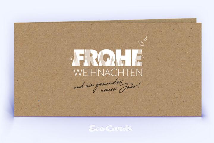 Weihnachtskarte Nr. 2060 braun mit einem typografisch gestalteten Design