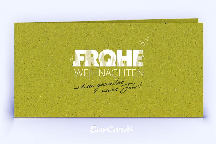 Weihnachtskarte Nr. 2062 gruen mit einem typografisch gestalteten Motiv