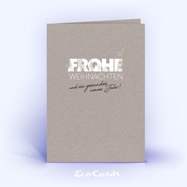 Weihnachtskarte Nr. 2063 grau mit einem typografisch gestalteten Weihnachtsdesign