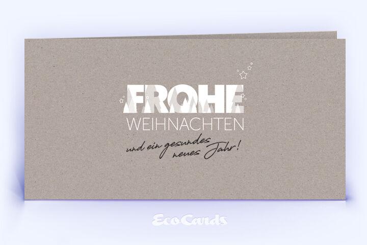 Weihnachtskarte Nr. 2064 grau mit einem typografisch gestalteten Weihnachtsmotiv