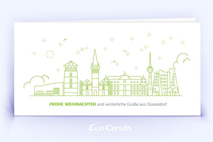 Weihnachtskarte Nr. 2080 gruen mit Düsseldorf Motiv