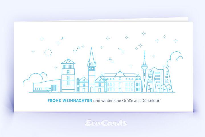 Weihnachtskarte Nr. 2082 blau mit einem Düsseldorf Design