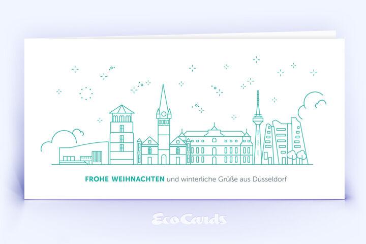 Weihnachtskarte Nr. 2084 tuerkis mit Düsseldorf Design
