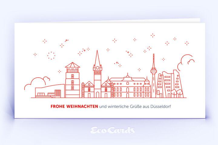 Weihnachtskarte Nr. 2086 rot mit einem Düsseldorf Motiv