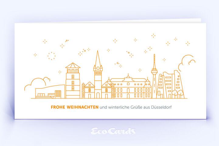 Weihnachtskarte Nr. 2088 orange mit Düsseldorf Silhouette