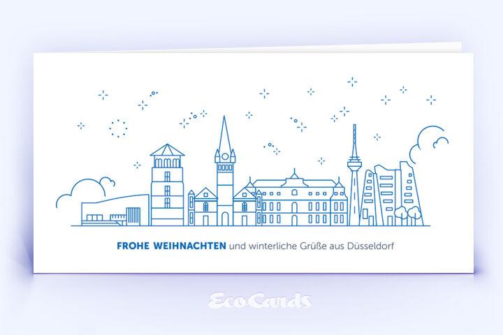 Weihnachtskarte Nr. 2090 dunkelblau mit der Düsseldorfer Skyline