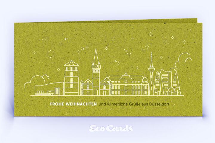 Weihnachtskarte Nr. 2096 gruen mit einer Düsseldorf Silhouette