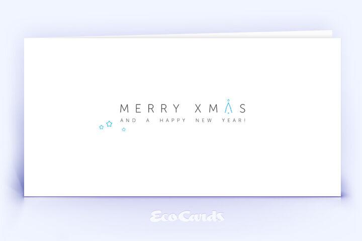 Weihnachtskarte Nr. 2102 blau mit einem typografisch gestalteten Design