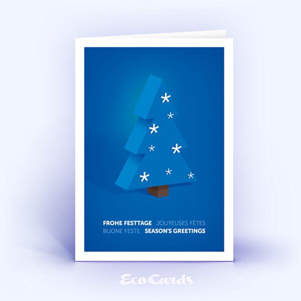 Weihnachtskarte Nr. 2107 blau mit einem Weihnachtsbaum