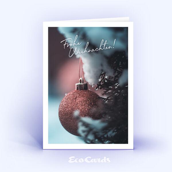 Weihnachtskarte Nr. 2115 rot mit einer Weihnachtskugel