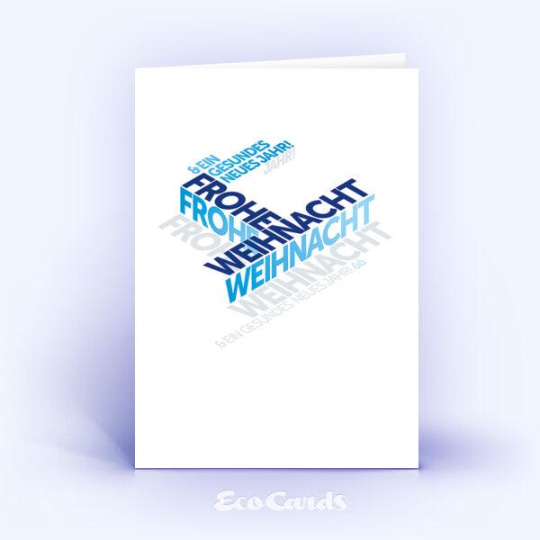 Weihnachtskarte Nr. 2117 blau mit einer Word-Cloud