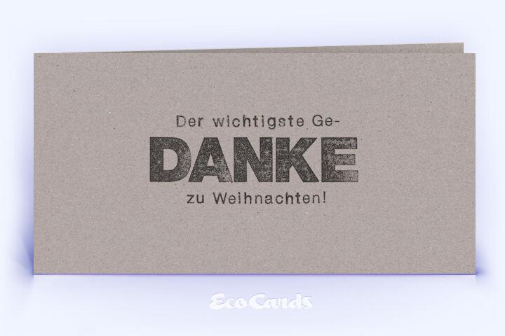Dankeskarte Nr. 2132 grau mit einem typografisch gestalteten Motiv
