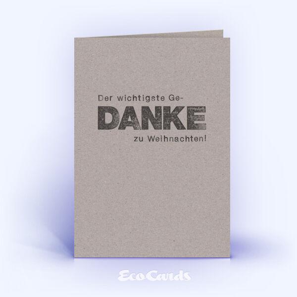 Dankeskarte Nr. 2133 grau mit einem typografisch gestalteten Design