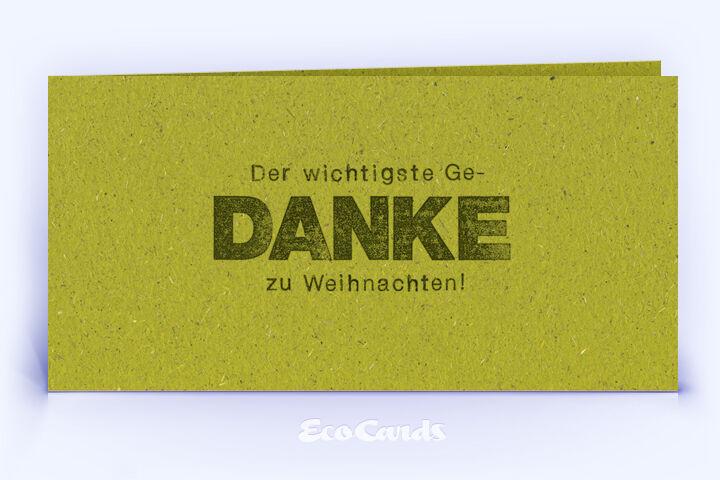 Dankeskarte Nr. 2134 gruen mit einem typografisch gestalteten Weihnachtsmotiv