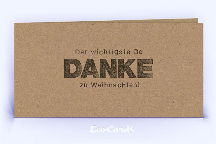 Dankeskarte Nr. 2136 naturfarben mit einem typografisch gestalteten Design