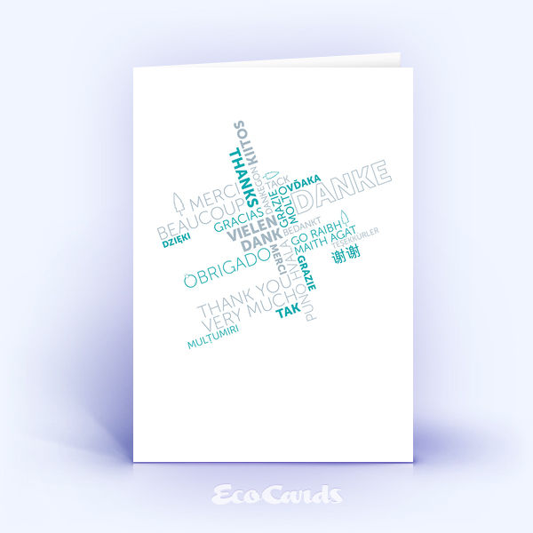 Dankeskarte Nr. 2137 tuerkis mit Word Cloud