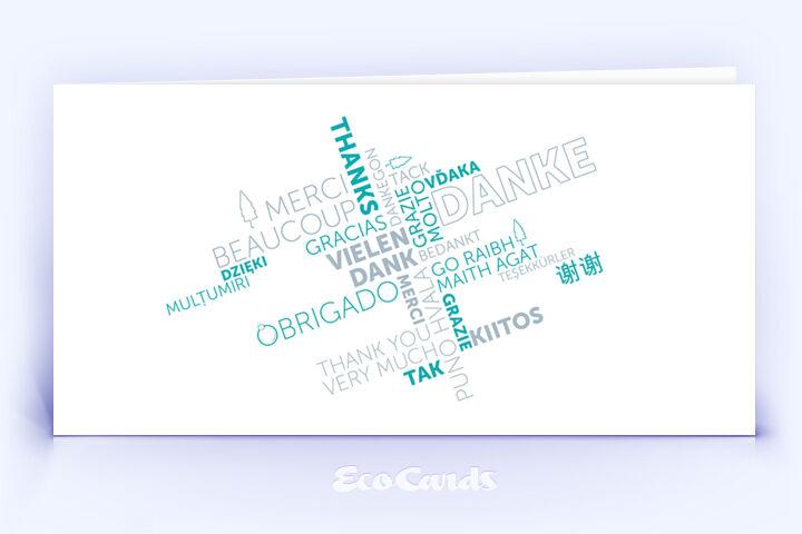 Dankeskarte Nr. 2138 tuerkis mit einer Word Cloud
