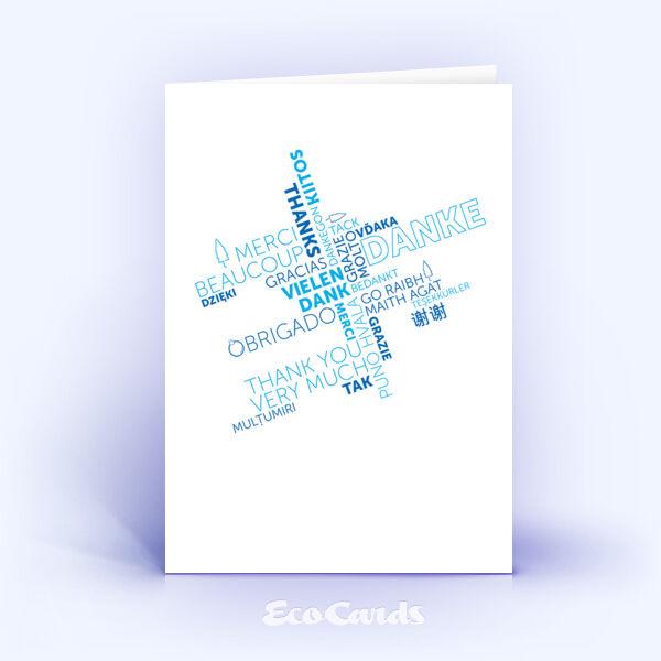 Dankeskarte Nr. 2139 blau mit Wortwolke