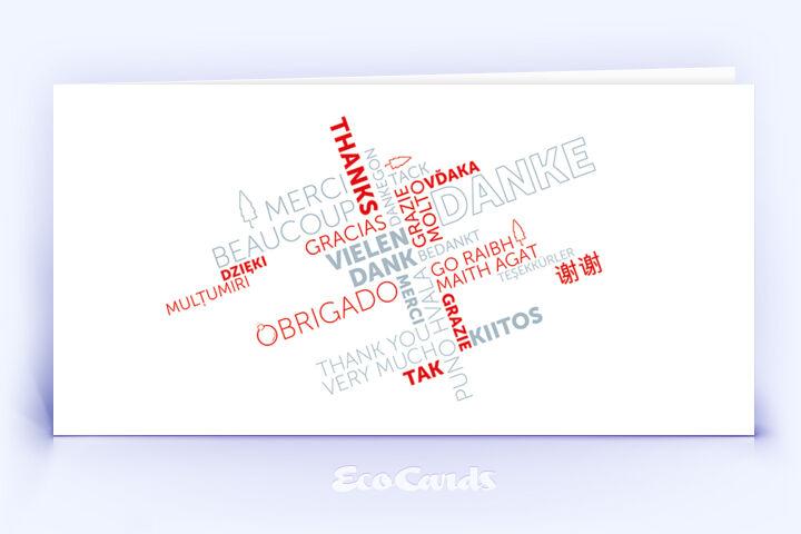 Dankeskarte Nr. 2140 rot mit Wortwolke
