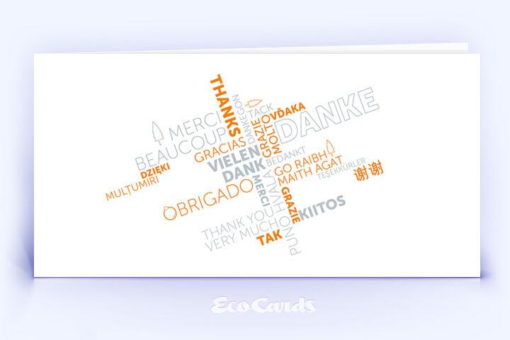Dankeskarte Nr. 2142 orange mit Word Cloud
