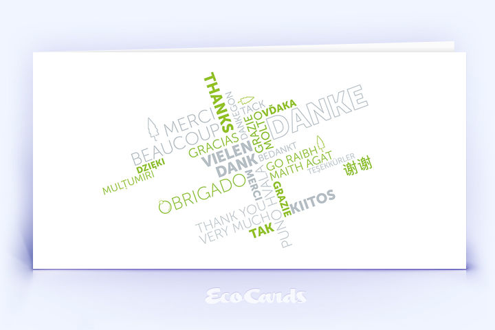 Dankeskarte Nr. 2144 gruen mit Wortwolke