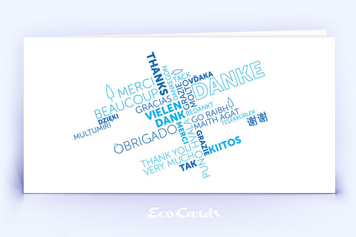 Dankeskarte Nr. 2146 blau mit einer Wortwolke