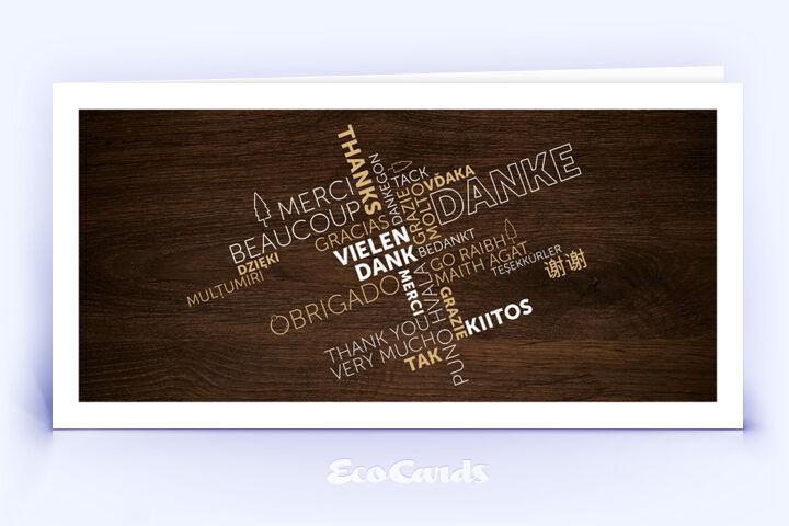 Dankeskarte Nr. 2150 braun mit einer aufgedruckten Holzmaserung