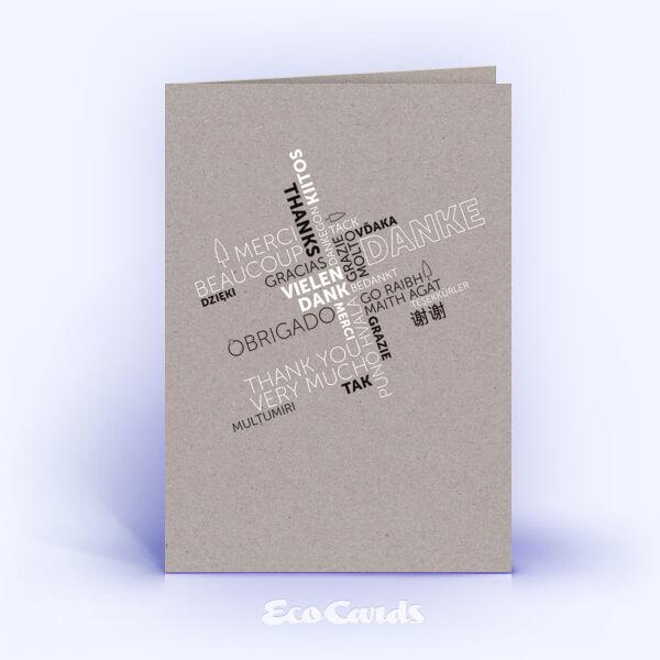Dankeskarte Nr. 2151 grau mit Word Cloud