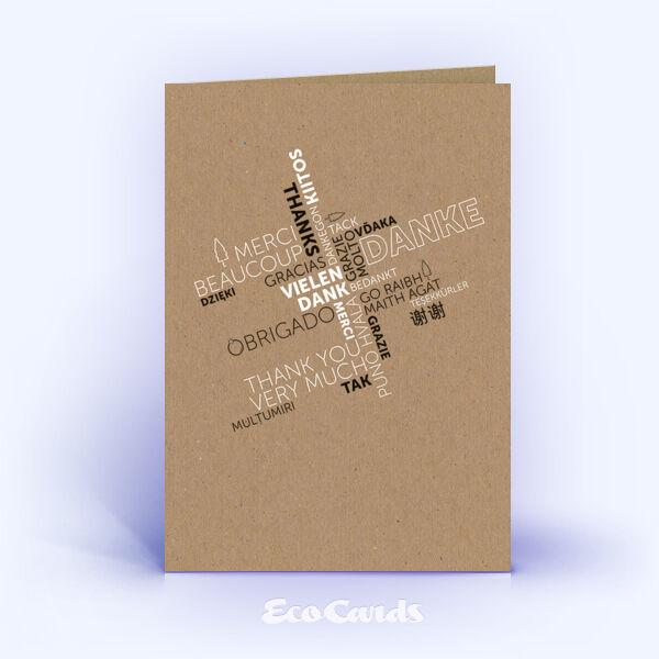 Dankeskarte Nr. 2155 naturfarben mit Word-Cloud