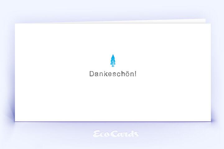 Dankeskarte Nr. 2160 blau mit einem Weihnachtsbaum