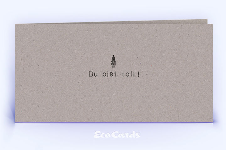 Dankeskarte Nr. 2176 grau mit einem Weihnachtsbaum