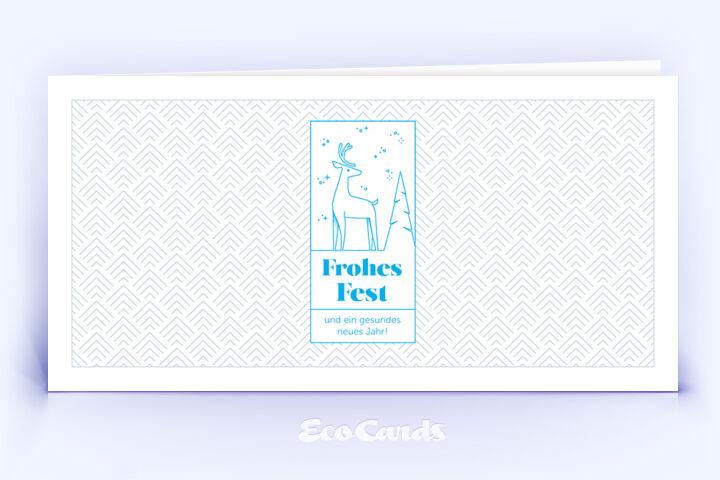 Weihnachtskarte Nr. 2182 blau mit Hirschmotiv