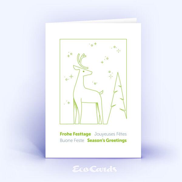 Weihnachtskarte Nr. 2183 gruen mit Hirsch