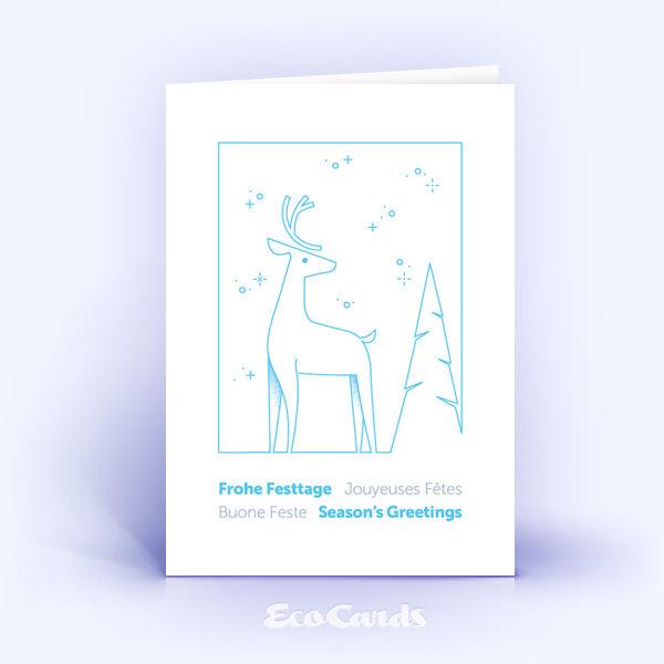 Weihnachtskarte Nr. 2185 hellblau mit Hirsch Silhouette