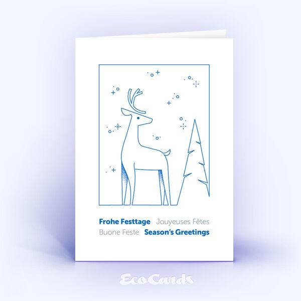 Weihnachtskarte Nr. 2187 blau mit Hirschmotiv