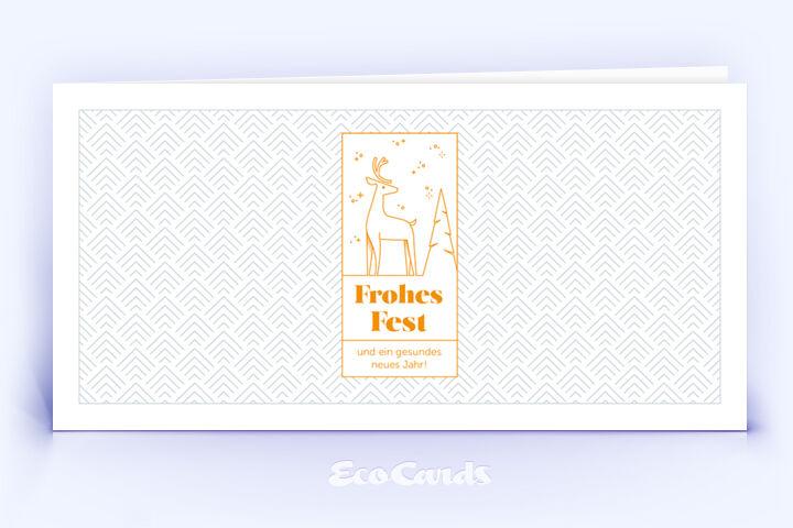 Weihnachtskarte Nr. 2188 orange mit Hirschmotiv