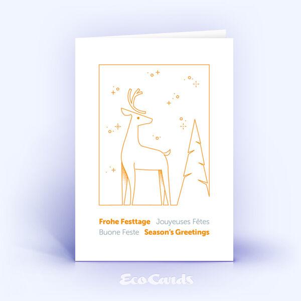 Weihnachtskarte Nr. 2191 orange mit Hirsch